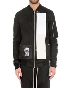 Rick Owens DRKSHDW  - Black bomber jacket with patches