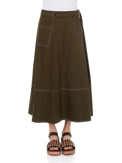 Sale Pay With Visa Release Dates Cheap Price Army green long skirt Marni Good Service C3bo2