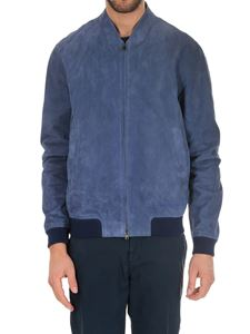 Herno - Giacca in pelle scamosciata blu