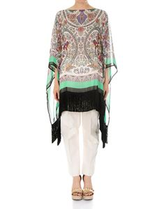 Etro - Silk poncho with fringes