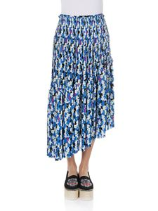 Kenzo - Blue floral asymmetric pleated skirt