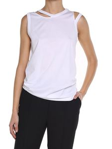 Maison Margiela - White cut-out asymmetrical top