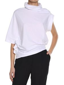 Maison Margiela - White asymmetric cotton t-shirt