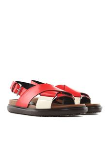 Marni - Red leather fussbett sandals