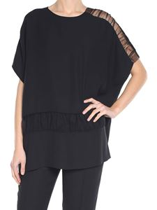 Maison Margiela - Black crepe top with nude effect