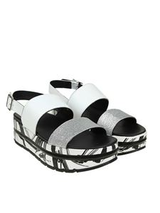 Voile Blanche - Silver and white Suzy sandals