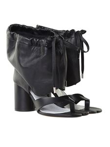 Maison Margiela - Black Tabi thong sandals with drawstring
