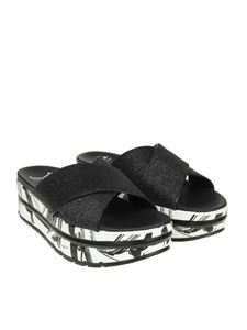 Voile Blanche - Black Suzy sandals with glitter