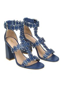 Red Valentino - Blue Flowers Puzzle sandals