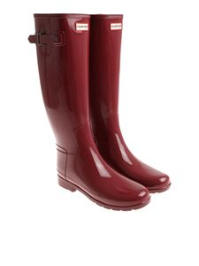 Hunter - Glossy burgundy Wellington boots