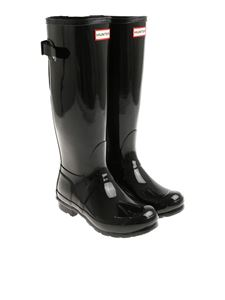 Hunter - Black Wellington Adjustabl Gloss boots