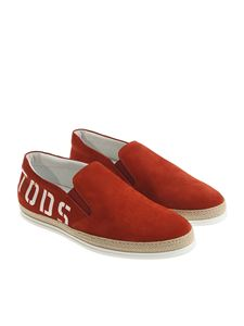 Tod's - Slip on rossa con stampa logo