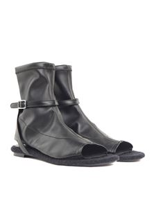 MM6 by Maison Martin Margiela - Black stretch leather and felt ankle boots