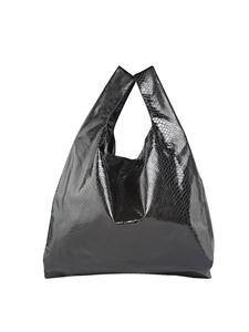MM6 by Maison Martin Margiela - Black reptile printed shopping bag