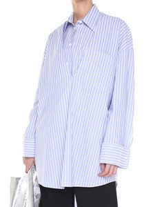 MM6 by Maison Martin Margiela - Light blue striped oversize shirt