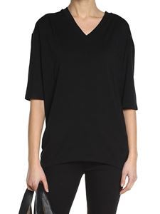 MM6 by Maison Martin Margiela - Black V-neck t-shirt and raglan sleeve