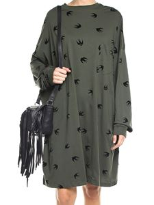 McQ Alexander Mcqueen - Army green overfit dress with flock swallows