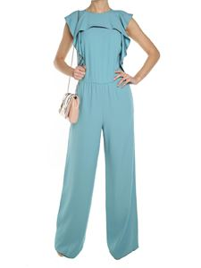 Red Valentino - Light blue ruffled crepe jumpsuit