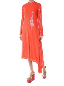 MSGM - Orange midi dress with sequins