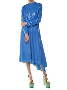 MSGM - Blue midi dress with sequins