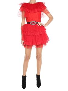 MSGM - Red mini tulle and lace dress