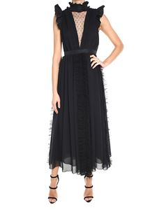 MSGM - Black ruffled long  dress with point d'esprit lace