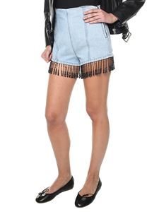 MSGM - Denim shorts with beaded fringes