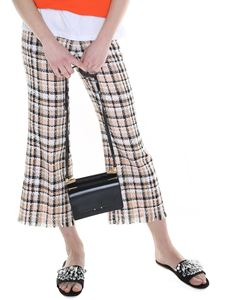 MSGM - Multicolor tweed trousers with fringed profiles