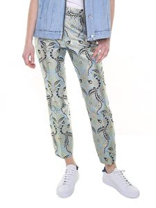 MSGM - Light blue trousers in brocade fabric