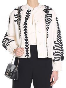 Tory Burch - White embroidered cotton jacket