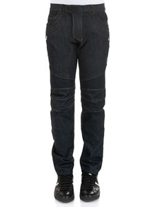 Balmain - Blue Biker jeans with top-stitching