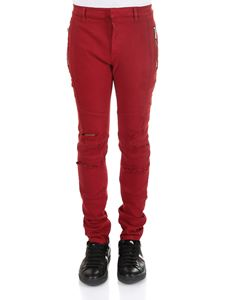 Balmain - Red jeans with zip and rips