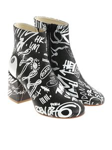 MM6 by Maison Martin Margiela - Black graffiti printed ankle boots