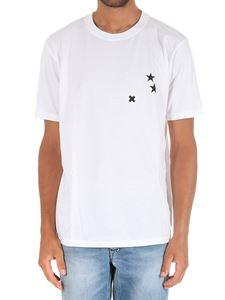 Society - T-shirt bianca stampa stelle