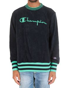Champion - Blue striped crewneck sweatshirt with logo