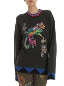 Etro - Green pullover with chameleon embroidery