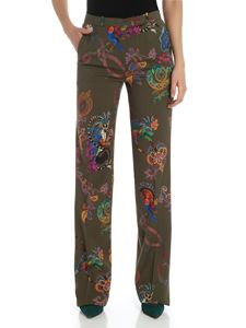 Etro - Green printed flared trousers