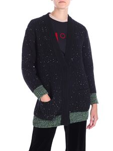 N° 21 - Blue overfit knitted cardigan with sequins