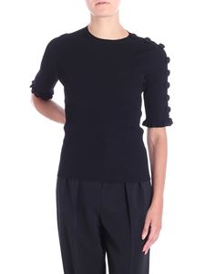 Red Valentino - Black stretch knitted top with buttons and ruffles