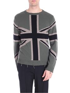 Valentino - Green pullover with Union Jack inlay