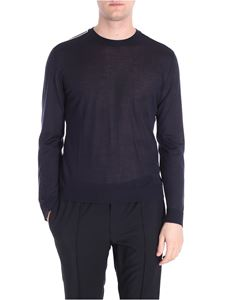 Valentino - Blue roundneck pullover with white embroidery