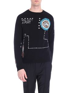 Valentino - Black pullover with videogames inlays