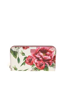 Dolce & Gabbana - Peonies print zip around wallet