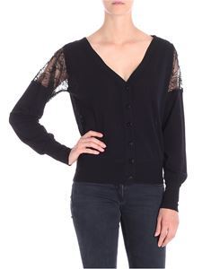 Fuzzi - Black cardigan with lace