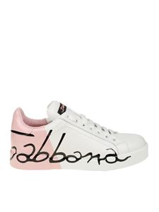 Dolce & Gabbana - White and pink Portofino nappa sneakers