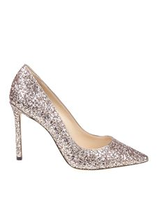 Jimmy Choo - Golden Romy 100 glittered pointy pumps