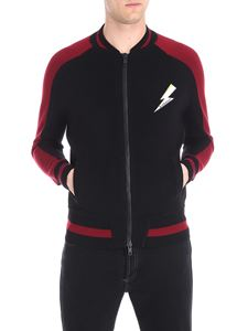 Givenchy - Black and red cardigan with lightning insert