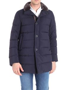 Herno - Blue quilted down jacket with beaver fur