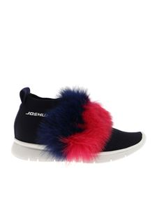 Joshua Sanders - Blue sneakers with fox fur insert