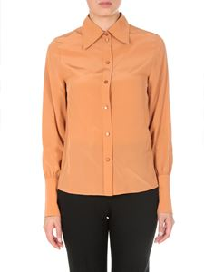 Chloé - Blusa in crepe de chine marrone